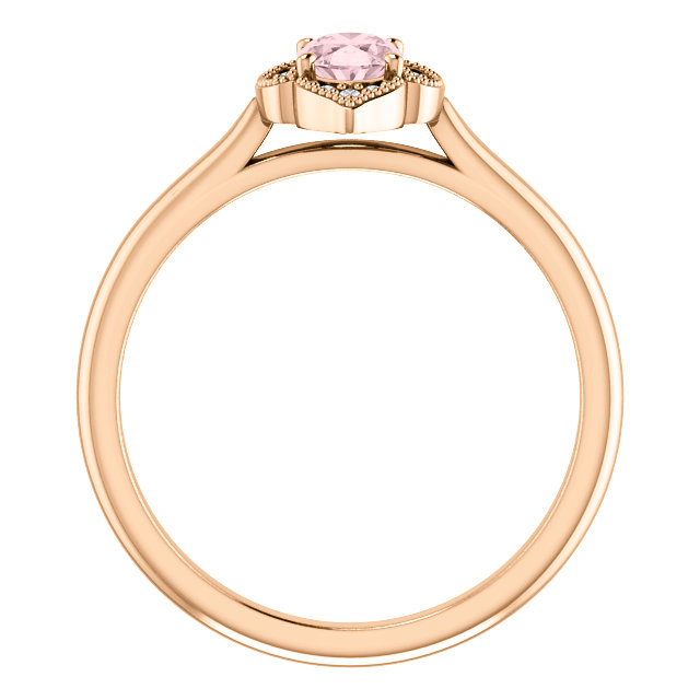 14K Rose Morganite & .12 CTW Diamond Ring
