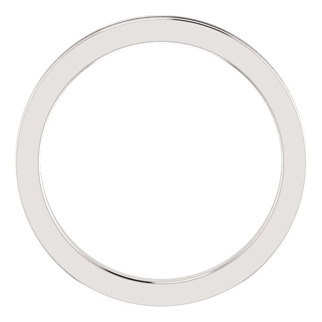 14K White 2mm Flat Comfort-Fit Milgrain Band Size 7