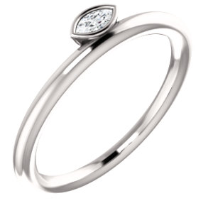 14k White 07 Ctw Diamond Asymmetrical Stackable Ring