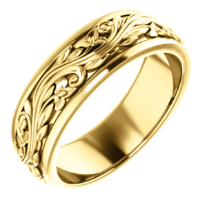 14k Yellow Sculptural Inspired Wedding Band Size 11