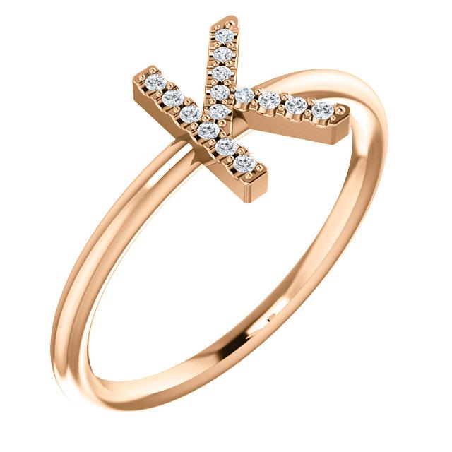 14K Rose .06 CTW Diamond Initial K Ring