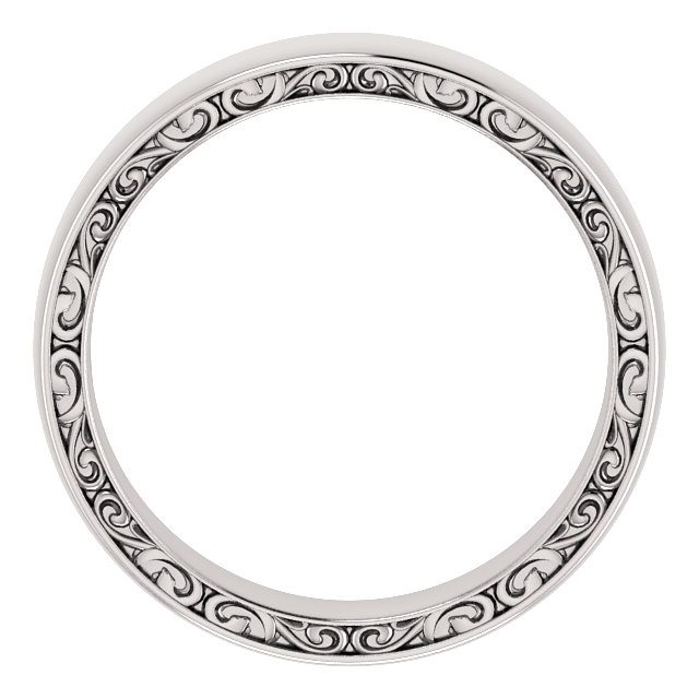 14K White 6 mm Sculptural-Inspired Relief Pattern Band Size 10