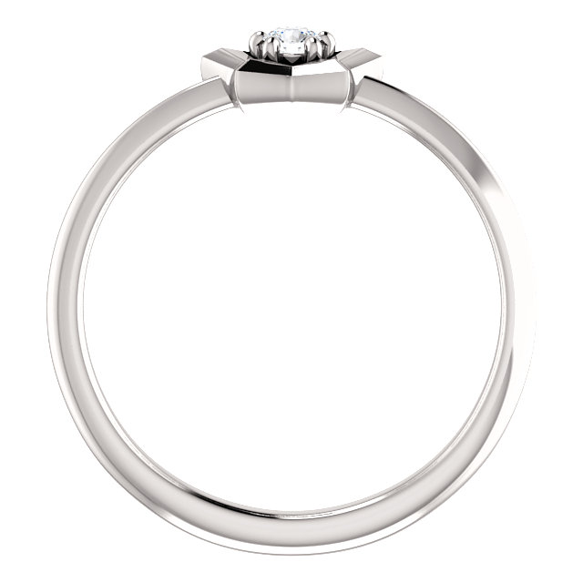14K White 3 mm Round April Youth Star Birthstone Ring