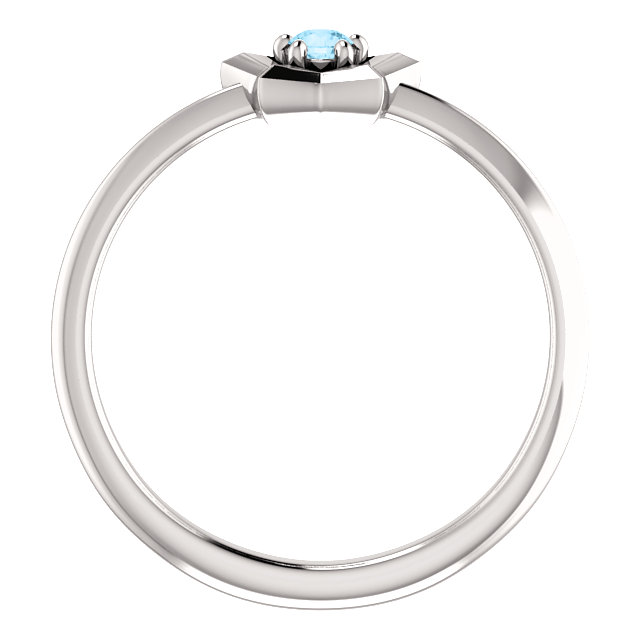 14K White 3 mm Round March Youth Star Birthstone Ring