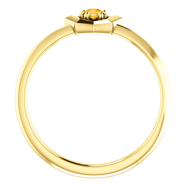 14K Yellow 3 mm Round November Youth Star Birthstone Ring