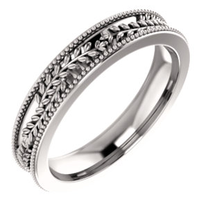 14K White Floral-Inspired Band Size 5