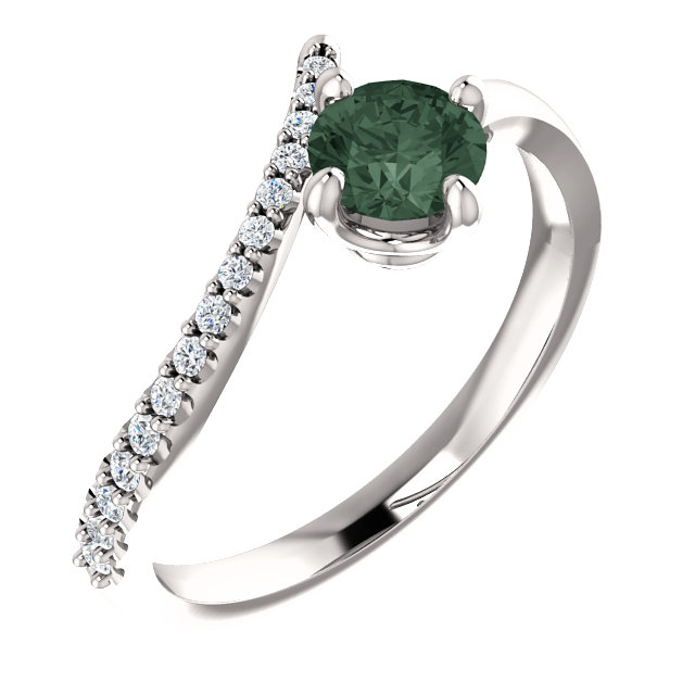 14K White Chatham® Created Alexandrite & 1/10 CTW Diamond Bypass Ring