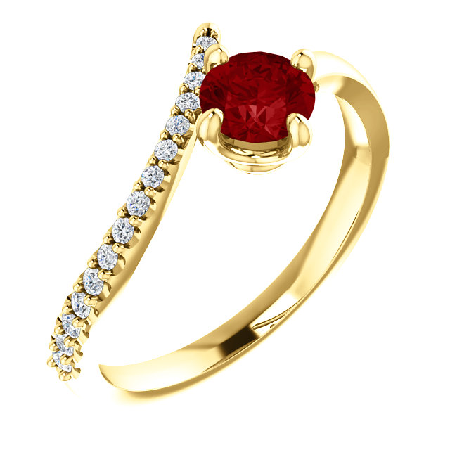 14K Yellow Ruby & 1/10 CTW Diamond Bypass Ring
