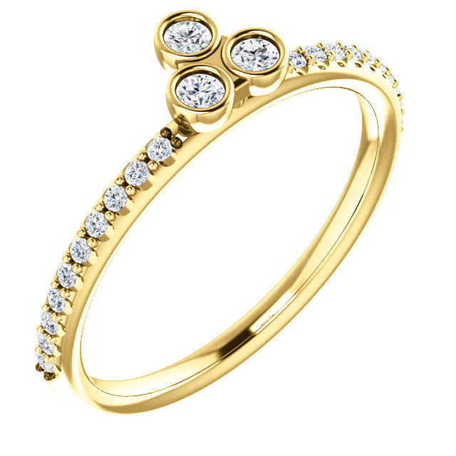 14K Yellow 1/5 CTW Diamond Three-Stone Asymmetrical Stackable Ring