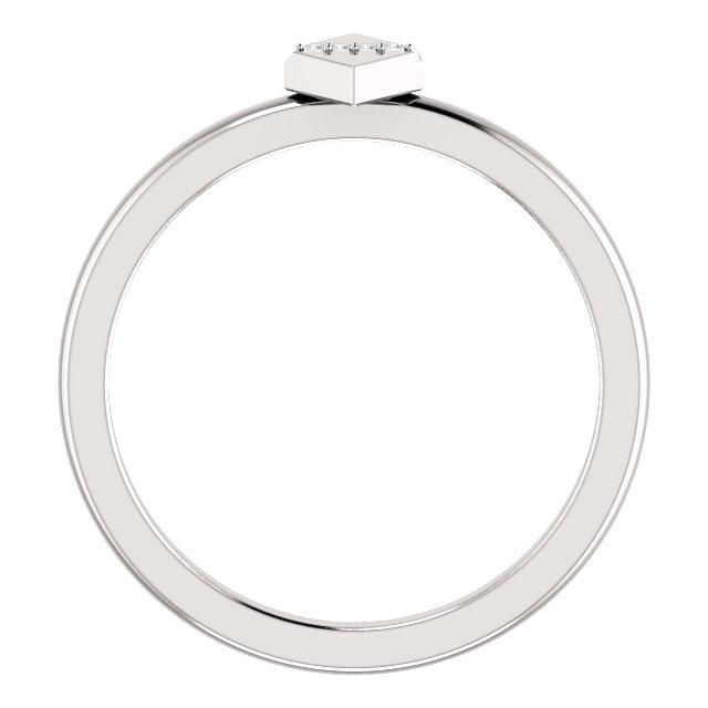 14K White .01 CTW Diamond Geometric Ring