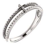 Milgrain Stackable Cross Ring