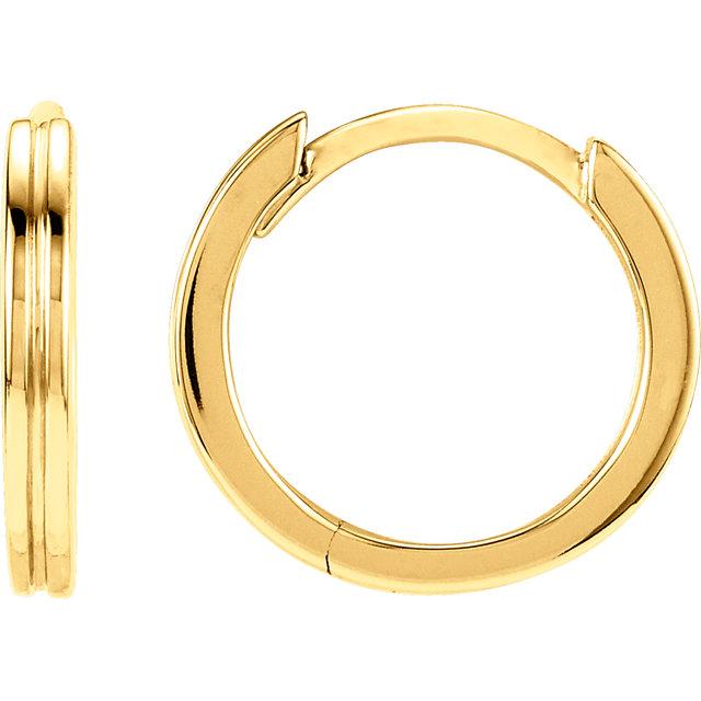14K Yellow Metal Fashion Grooved Hoop Earrings