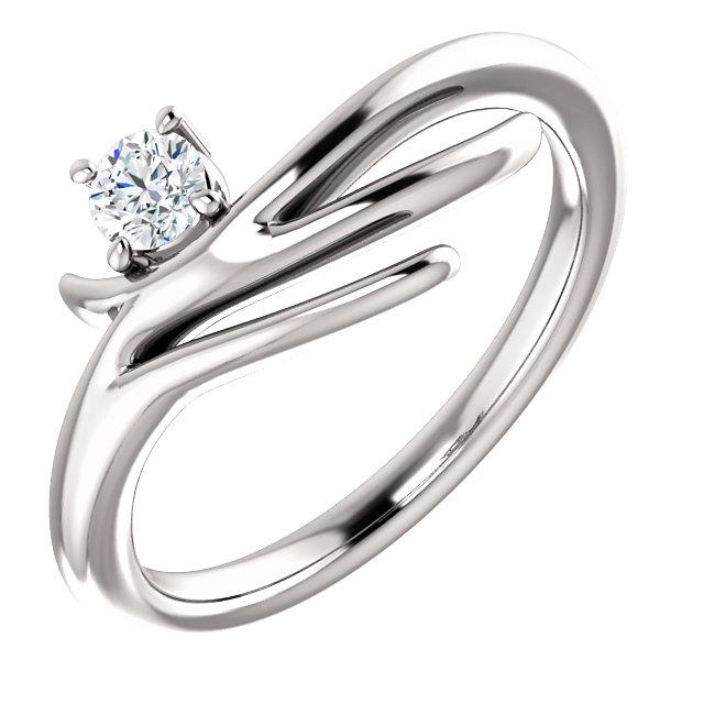 14K White 1/6 CTW Diamond Solitaire Freeform Ring