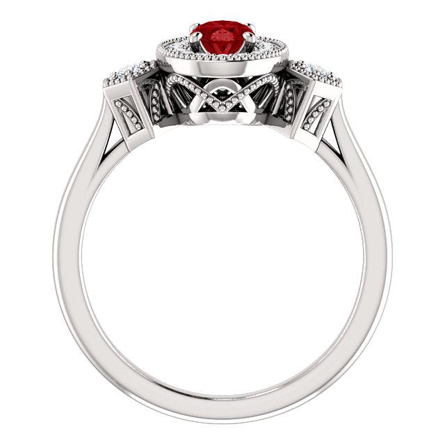 14K White Chatham® Created Ruby & 1/6 CTW Diamond Ring