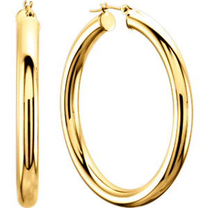 14K Yellow 20mm Tube Hoop Earrings