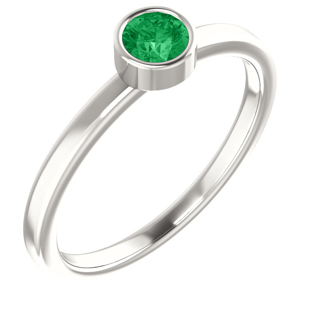 Sterling Silver Imitation Emerald Ring