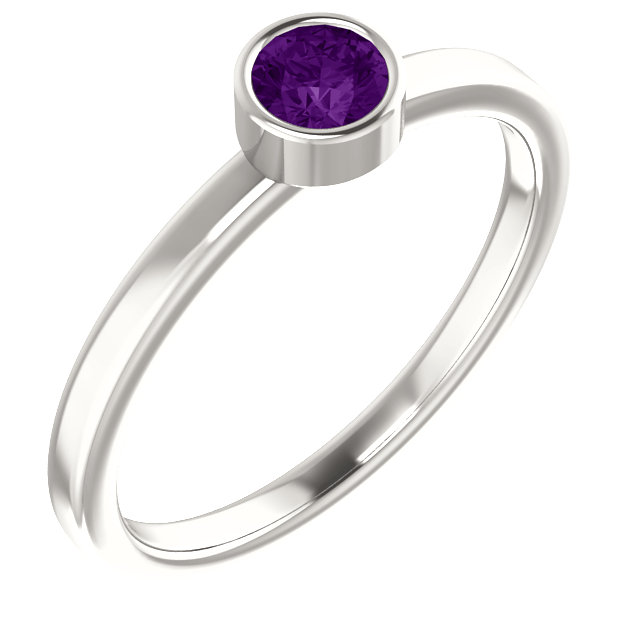 Sterling Silver Imitation Amethyst Ring
