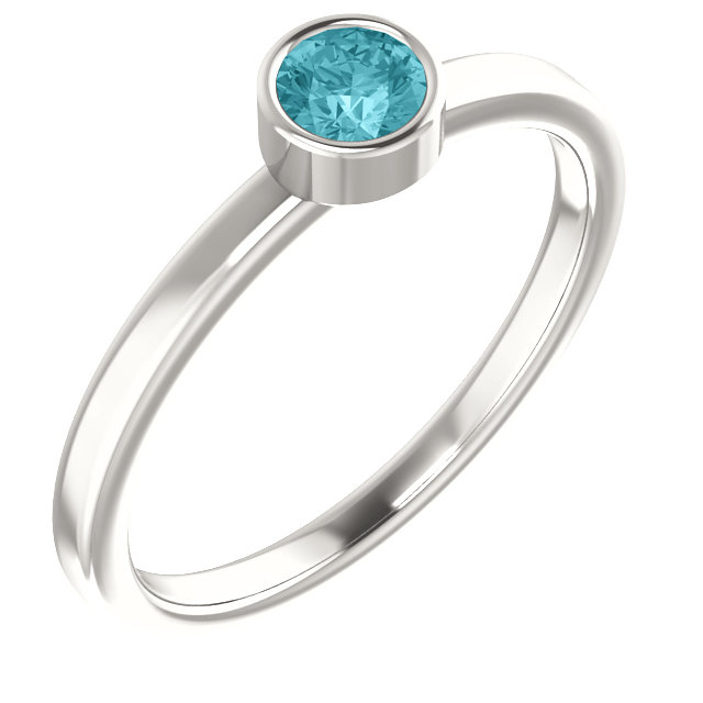 Sterling Silver Imitation Blue Zircon Ring