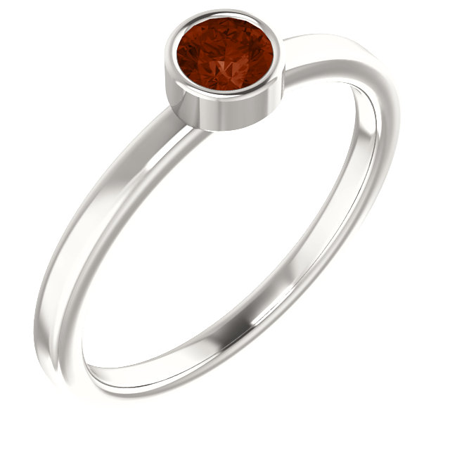 Sterling Silver Imitation Garnet Ring