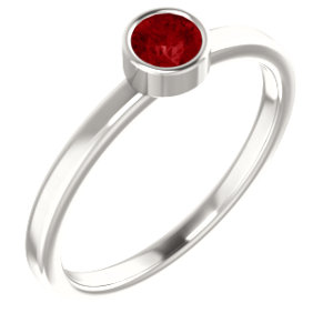 Sterling Silver Imitation Ruby Ring