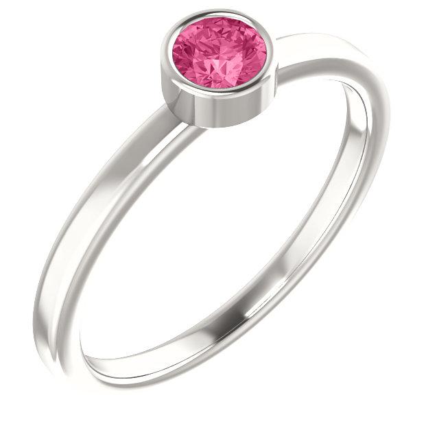 Sterling Silver Imitation Pink Tourmaline Ring