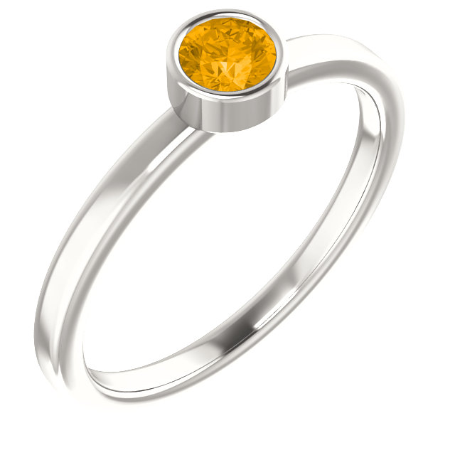 Sterling Silver Imitation Citrine Ring