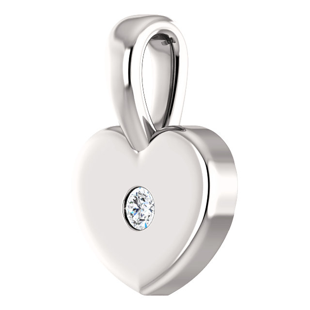 14K White .01 CT Diamond Youth Heart Pendant