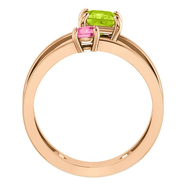 14K Rose Peridot & Pink Tourmaline Two-Stone Ring