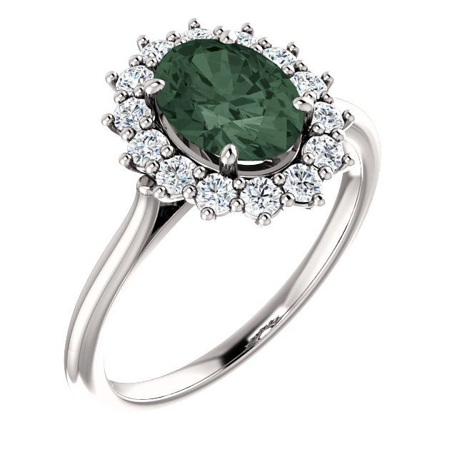 14K White Chatham® Created Alexandrite & 3/8 CTW Diamond Ring