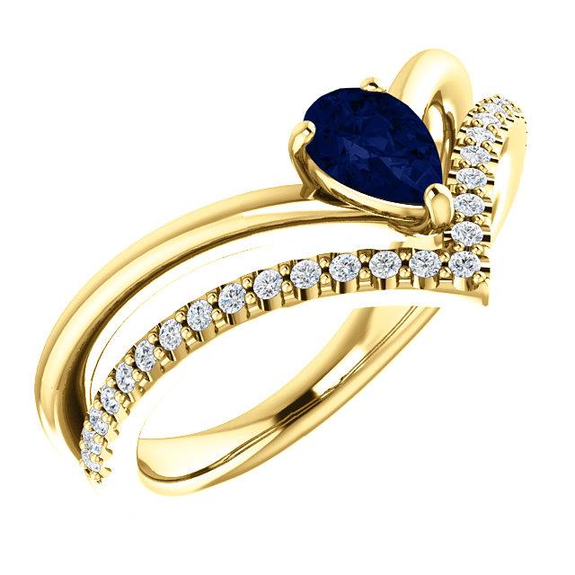 14K Yellow Chatham® Created Blue Sapphire & 1/6 CTW Diamond Ring