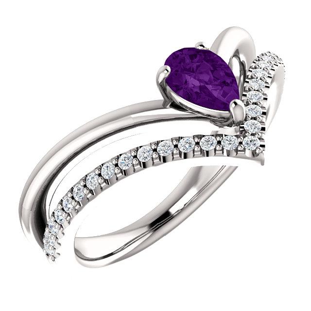 14K White Amethyst & 1/6 CTW Diamond Ring