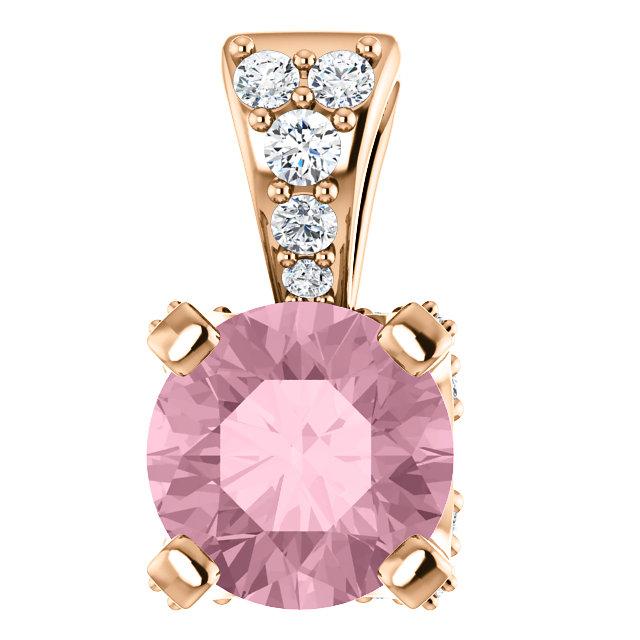 14K Rose Baby Pink Topaz & 1/10 CTW Diamond Pendant