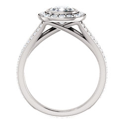 Halo-Style Bezel Set Engagement Ring