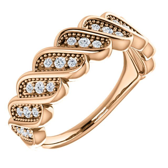 14K Rose 1/4 CTW Diamond Stackable Ring