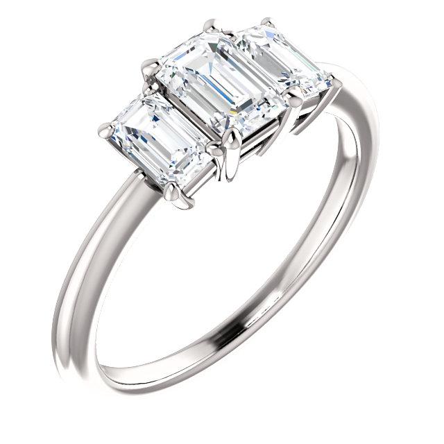 14K White 6x4 mm Emerald Cubic Zirconia & 3/4 CTW Diamond Engagement Ring