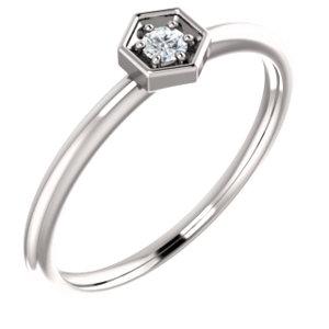 14K White .06 CTW Diamond Hexagon Stackable Ring