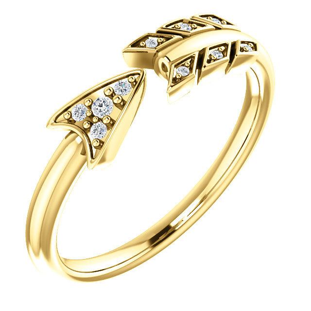 14K Yellow .04 CTW Diamond Arrow Ring