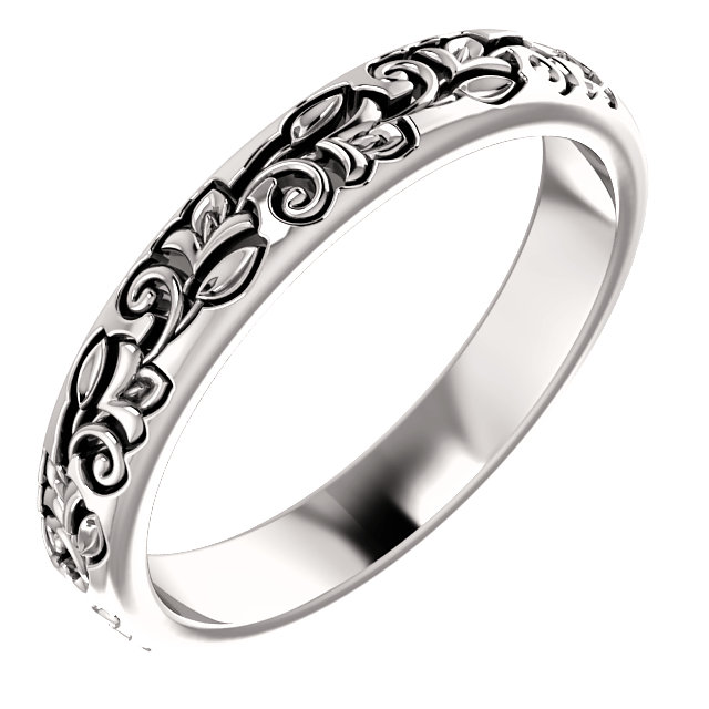 14K White Floral-Inspired Band Size 7
