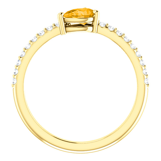 14K Yellow Citrine & 1/6 CTW Diamond Ring