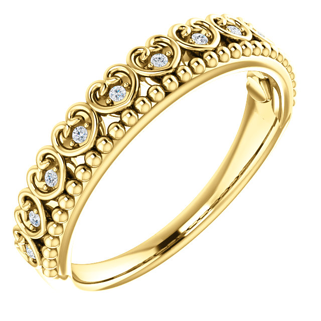 14K Yellow .05 CTW Diamond Beaded Heart Stackable Ring