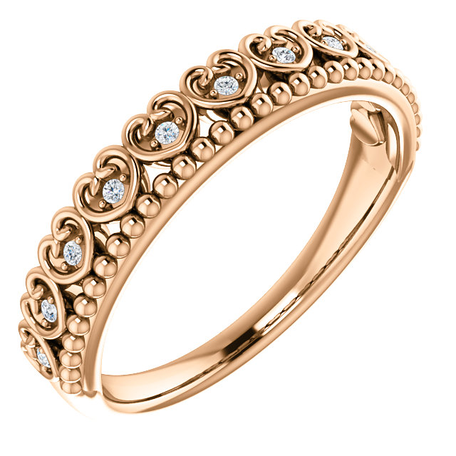 14K Rose .05 CTW Diamond Beaded Heart Stackable Ring