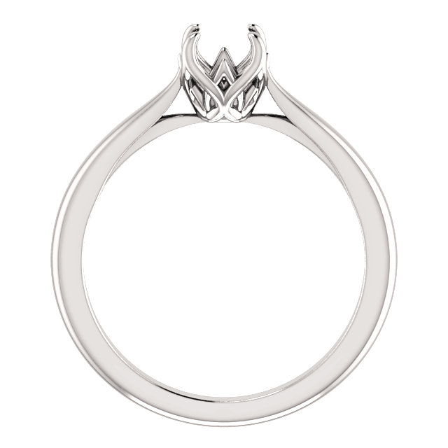 14K White 5.8 mm Round Solitaire Engagement Ring Mounting