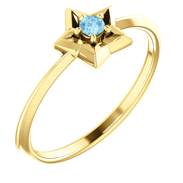 14K Yellow 3 mm Round March Youth Star Birthstone Ring