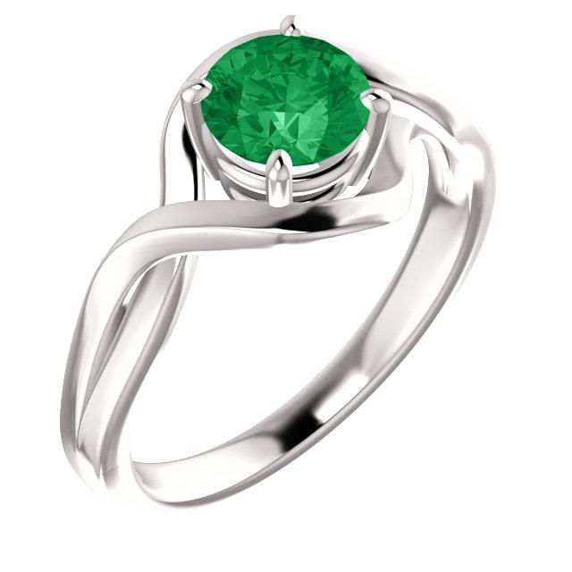 14K White Chatham® Lab-Grown Emerald Ring