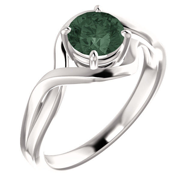 14K White Chatham® Lab-Grown Alexandrite Ring