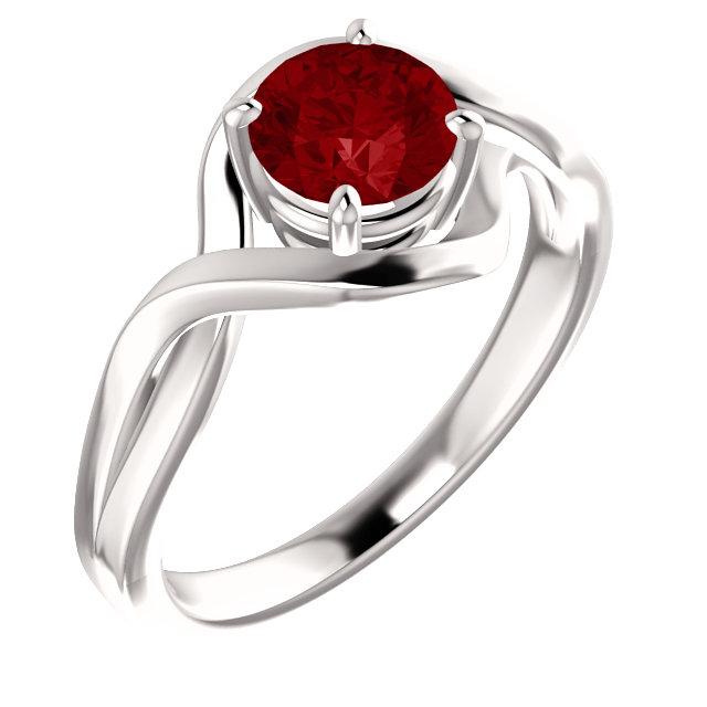 14K White Chatham® Lab-Grown Ruby Ring