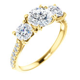 Charles & Colvard Moissanite® & Diamond Three-Stone French-Set Engagement Ring