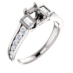 Baguette Accented Engagement Ring