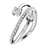 Charles & Colvard Moissanite® & Diamond Accented Two-Stone Bypass Ring