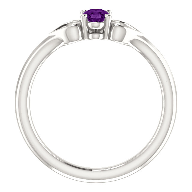 Sterling Silver Amethyst Youth Heart Ring